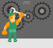 Worker repairs the mechanism Stock Image
