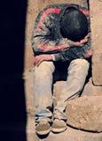 Worker rests on the street in Baku, Azerbaijan Stock Image