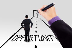 Worker on a road with opportunity door. Businessperson standing on the road and guided to an opportunity door Royalty Free Stock Photography