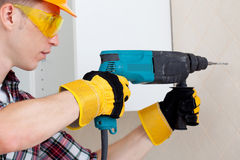 Worker with rock-drill Royalty Free Stock Photos