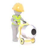 Worker rolling concrete mixer Royalty Free Stock Photography
