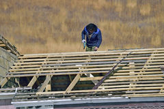 Worker on the roof Royalty Free Stock Photos