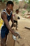 A worker in Rwanda. Royalty Free Stock Images