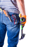 Worker's back with tools Royalty Free Stock Photos