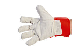 Worker's hand Wearing Leather Work Glove Royalty Free Stock Photo