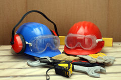 Worker's helmets Royalty Free Stock Photography