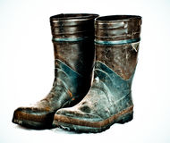 Worker's rain boots Royalty Free Stock Images