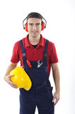Worker safety equipment. Worker with safety equipmant isolated on white background Royalty Free Stock Photography