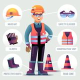 Worker with safety equipment. Man wearing helmet, gloves glasses, protective gear. Builder protection clothing PPE. Vector infographic. Worker safety helmet stock illustration