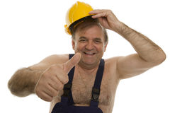 Worker with safety helmet Royalty Free Stock Image