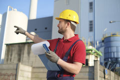 Worker with safety helmet Royalty Free Stock Photography