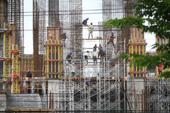 Worker safety Storey Building Project Stock Photo