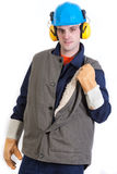 Worker. In safety suit isolated on white background Royalty Free Stock Photo