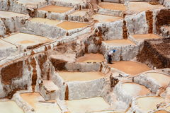 Worker in salt evaporation ponds. Maras. Sacred Valley. Cusco region. Peru. Maras is a town in the Sacred Valley of the Incas, in the Cuzco Region of Peru Stock Images