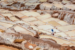 Worker in salt evaporation ponds. Maras. Sacred Valley. Cusco region. Peru. Maras is a town in the Sacred Valley of the Incas, in the Cuzco Region of Peru Royalty Free Stock Photo