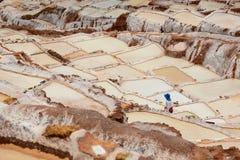 Worker in salt evaporation ponds. Maras. Sacred Valley. Cusco region. Peru Royalty Free Stock Photo
