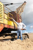 Worker at sand pit. Portrait of worker at sand pit Royalty Free Stock Photo