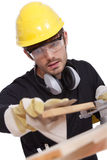 Worker with sandpaper Stock Photos
