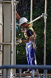 A worker on a scaffold 98 stock photo