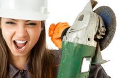 Worker screaming grinder Stock Photos