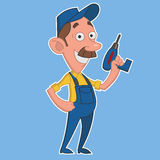 Worker with screwdriver. Vector illustration. good worker Stock Photos