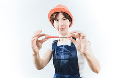 Worker with screwdriver Stock Images