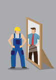 Worker Sees Himself as Business Professional in Mirror Reflectio. Blue-collar worker stands in front of mirror and sees himself as a business professional in Royalty Free Stock Photo