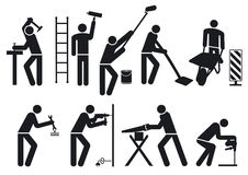 Worker set. Set of worker pictograms, isolated on white Royalty Free Stock Images
