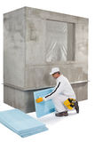 Worker setting up an insulation panel stock photos