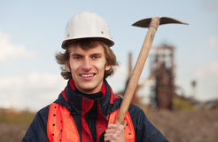 Worker with shovel Stock Photography