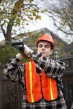 Worker with shovel stock photos