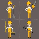 Worker with shovel hammer chainsaw and level Royalty Free Stock Images