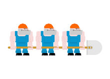 Worker with shovel. Worker in helmet and blue overall. Three wor. Kers holding big shovel Royalty Free Stock Photo