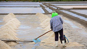 Worker shoveling salt at the pan Royalty Free Stock Photography