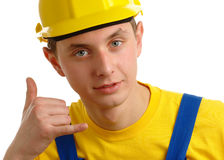 Worker showing Stock Photography
