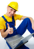 Worker showing Royalty Free Stock Image
