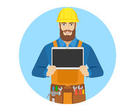 Worker showing blank digital tablet PC Stock Photo