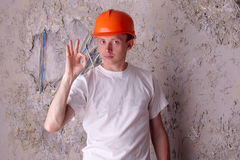 Worker shows approx - ok Stock Image