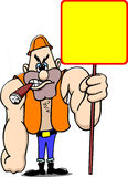 Worker with sign Royalty Free Stock Image