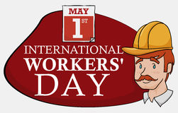 Worker with Sign and Calendar for Workers' Day Celebration, Vector Illustration Stock Photography