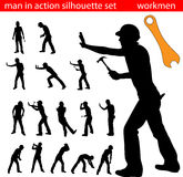 Worker silhouette. Set of worker silhouette vector stock illustration