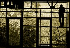 Worker Silhouette. Sepia silhouette of a resting worker through a large window, facing toward the outdoors Royalty Free Stock Image