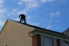 Roofer Working Silhouette Stock Image