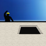 Worker silhouette with yellow protective headgear Royalty Free Stock Photos