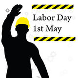 Worker silhouette with yellow protective headgear Stock Photos