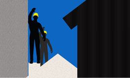 Worker silhouette with yellow protective headgear Royalty Free Stock Image
