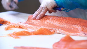 Worker slicing a fillet of salmon at table on the fish factory. Dolly shot. stock footage