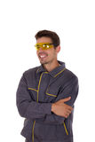 Worker smiles Royalty Free Stock Image