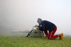 Worker with Smoke and Fogging Machine in the garden stock photos