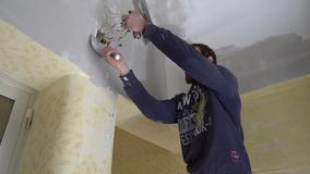 Worker spackle compound stock footage